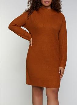 Plus Size Button Detail Sweater Dress - 3390075172093