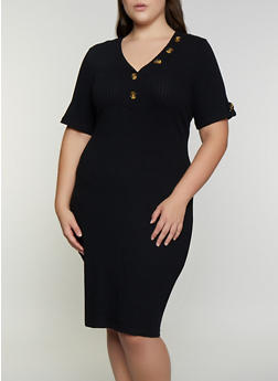 Plus Size Button Detail Bodycon Dress - 3390075173006