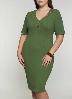 Plus Size Button Detail Bodycon Dress - 3390075173006