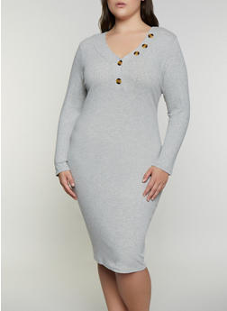 Plus Size Rib Knit Henley Bodycon Dress - 3390075173007
