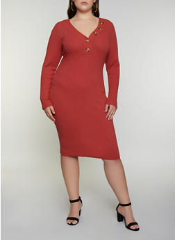 Plus Size Rib Knit Henley Bodycon Dress - 3390075173007