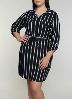 Plus Size Printed Soft Knit Shirt Dress - BLACK - 3390075173038