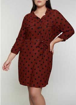 Plus Size Printed Soft Knit Shirt Dress - 3390075173038