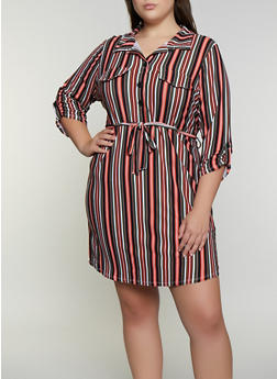 Plus Size Printed Soft Knit Shirt Dress - OLIVE - 3390075173038