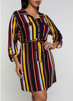 Plus Size Printed Soft Knit Shirt Dress - RED - 3390075173038