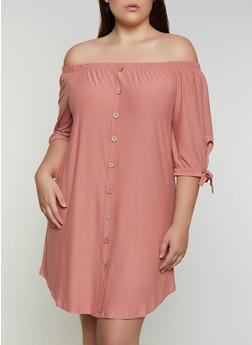 Plus Size Tie Sleeve Off the Shoulder Dress - 3390075173054