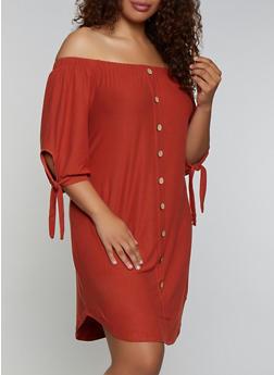 Plus Size Tie Sleeve Off the Shoulder Dress - 3390075173054