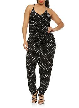 Plus Size Printed Tie Front Jumpsuit - 3392015050144