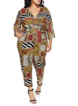 Plus Size Mixed Animal Print Faux Wrap Jumpsuit - 3392051061426