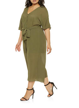 Plus Size Faux Wrap Cropped Jumpsuit - 3392058753801