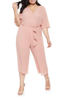 4aa6d13eebf2 Plus Size Faux Wrap Cropped Jumpsuit - 3392058753801