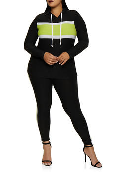 Plus Size Color Block Hooded Top with Leggings - 3392061630156
