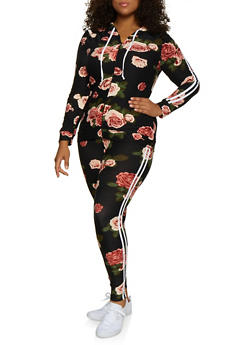 Plus Size Floral Varsity Stripe Hooded Top and Leggings - 3392061630194