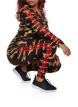 Plus Size Camo Varsity Stripe Zip Top with Leggings - 3392061630195