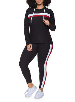 Plus Size Stripe Detail Hooded Top and Leggings - 3392061631339
