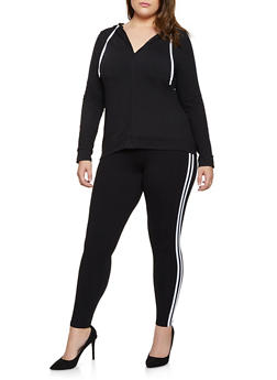 Plus Size Varsity Stripe Hooded Top and Leggings - 3392061631909