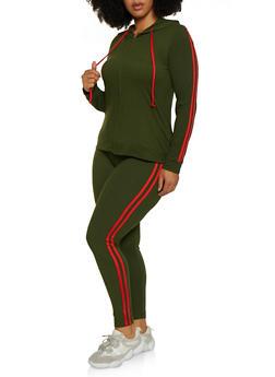 Plus Size Varsity Stripe Hooded Top and Leggings - 3392061631909