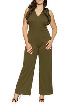 Plus Size Ruffled Wide Leg Jumpsuit - 3392062126961