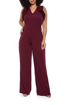 Plus Size Ruffled Wide Leg Jumpsuit - 3392062126961
