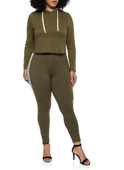 Plus Size Soft Knit Varsity Stripe Hooded Top and Leggings - 3392073379002