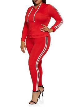 Plus Size Varsity Stripe Hooded Top and Leggings Set - 3392073379003