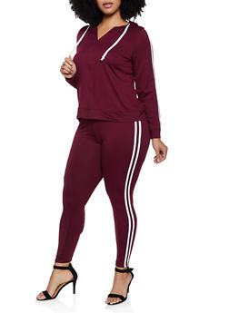 Plus Size Varsity Stripe Hooded Top and Leggings Set - 3392073379003
