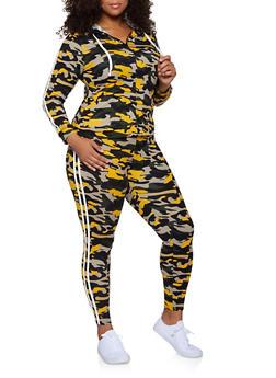Plus Size Varsity Stripe Zip Camo Top and Leggings - 3392073379004