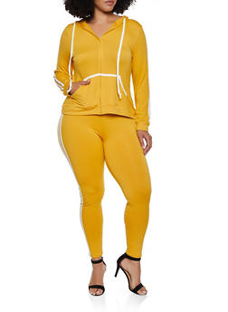 Plus Size Soft Knit Zip Hooded Top and Leggings - 3392073379007