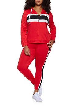 Plus Size Striped Detail Zip Top with Leggings - 3392073379012