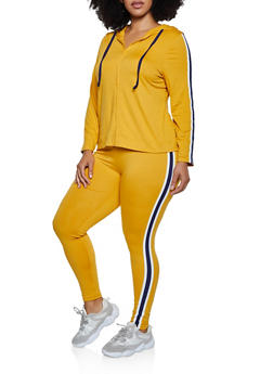 Plus Size Striped Trim Hooded Top and Leggings - 3392073379020