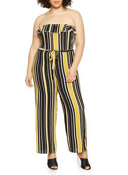 Plus Size Strapless Striped Jumpsuit - 3392074282808