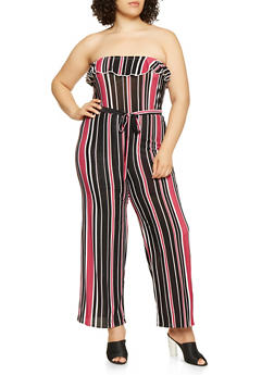 Plus Size Strapless Striped Jumpsuit - 3392074282808