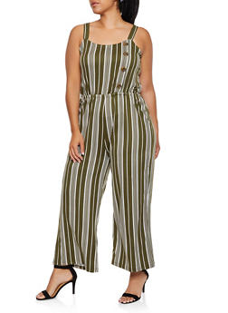 Plus Size Striped Button Detail Jumpsuit - 3392075171012