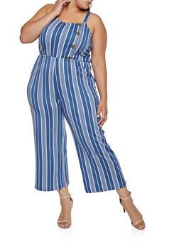 Plus Size Striped Button Detail Jumpsuit - 3392075171012