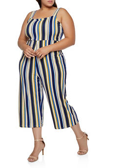 Plus Size Striped Soft Knit Jumpsuit - 3392075171014