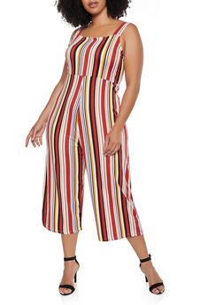 Plus Size Striped Soft Knit Jumpsuit - 3392075171014
