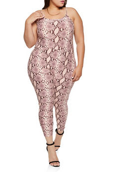 Plus Size Snake Print Catsuit - 3392075171024