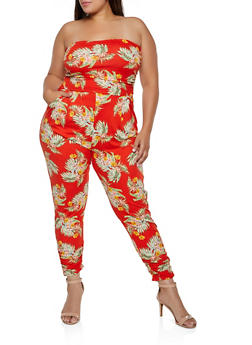 Plus Size Floral Ruched Leg Jumpsuit - 3392075171037