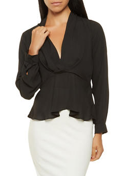 Ruched Peplum Top - 3401054210056