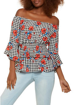 Floral Smocked Waist Off the Shoulder Top - 3401054210130