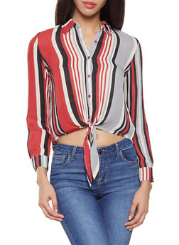 Striped Tie Front Shirt - 3401054210442