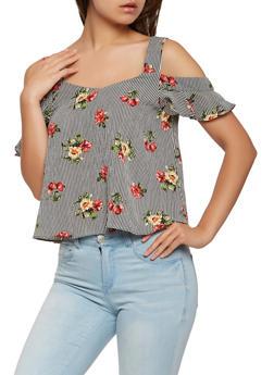 Floral Striped Cold Shoulder Top - 3401054210746