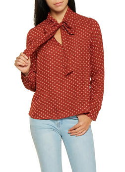 Printed Tie Neck Blouse - 3401054211357