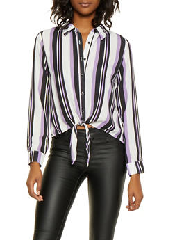 Striped Tie Waist Shirt - 3401054211442