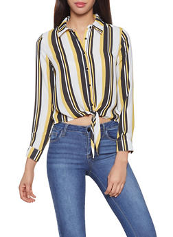 Striped Tie Waist Shirt - 3401054211442