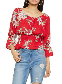 Smocked Waist Floral Blouse - 3401054211455