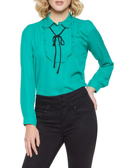 Ruffled Half Button Blouse - 3401054211487
