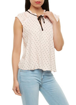 Ruffle Trim Polka Dot Top - 3401054212335