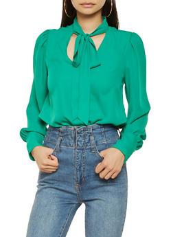 Crepe Knit Tie Neck Blouse - 3401054212400