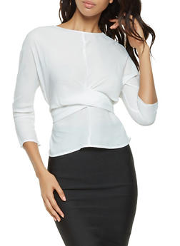 Twist Front Tie Back Blouse - 3401054212446